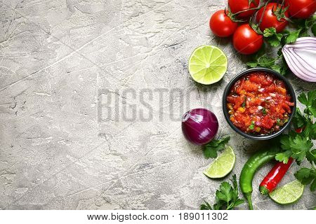 Ingredients For Making Tomato Salsa (salsa Roja).top View With Copy Space.