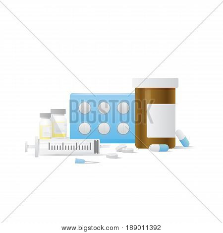 Capsule Bottle And Pills Medicine Panel And Injection Needle Illustration Vector On White Background