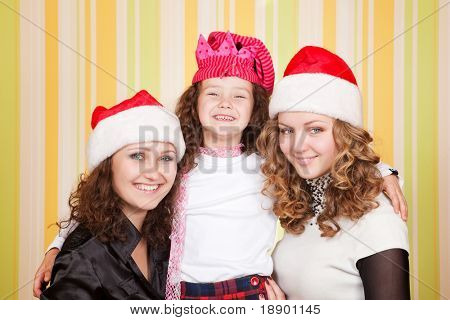 happy caucasian family smiling to camera