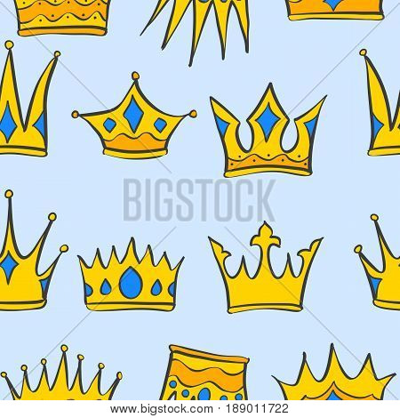 Collection stock crown pattern style vector illustration