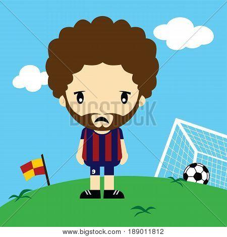 Funny Cartoon Soccer Player League Vector Art