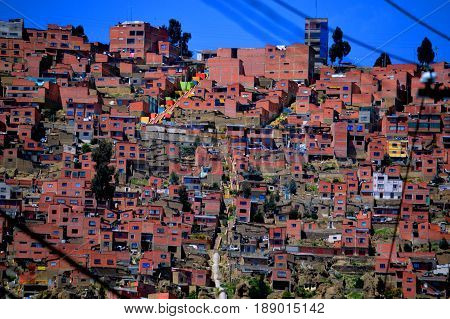 Incredible conglomerate of housing stacked on the slopes of the valley of the city of La Paz, Bolivia