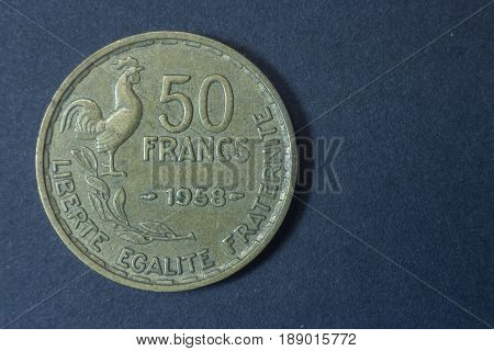 Fifty Francs 1958 Scarce France Tail Coin, Vintage Antique Old, Difficult And Rare To Find. Liberte,