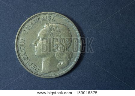 Fifty Francs 1958 Scarce France Head Coin, Vintage Antique Old, Difficult And Rare To Find.