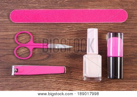 Cosmetics And Accessories For Manicure Or Pedicure On Board, Concept Of Nail Care