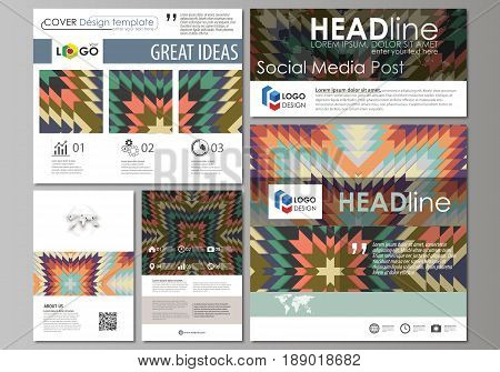 Social media posts set. Business templates. Easy editable abstract flat design template, vector layouts in popular formats. Tribal pattern, geometrical ornament in ethno syle, ethnic hipster backdrop, vintage fashion background.