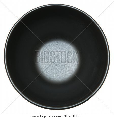 Black Empty Round Bowl over white background. Above view.