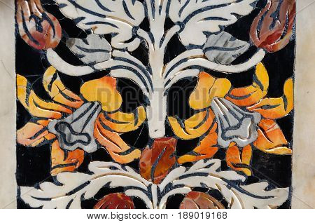 Details of colourful floral pattern marble intarsia in The Church of San Giuseppe dei Teatini - Palermo Sicily Italy