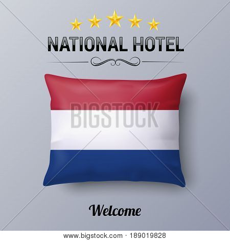 Realistic Pillow and Flag of Netherlands as Symbol National Hotel. Flag Pillow Cover with Dutch flag