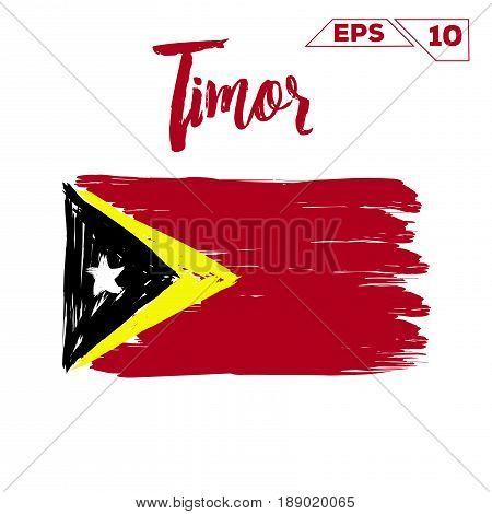 Timor flag brush strokes painted vector illustration