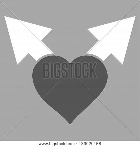 Love Variant Arrows flat icon. Vector bicolor dark gray and white symbol. Pictograph is isolated on a silver background. Trendy flat style illustration for web site design, logo, ads, apps,