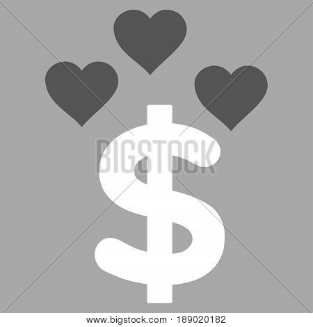 Lovely Dollar flat icon. Vector bicolor dark gray and white symbol. Pictogram is isolated on a silver background. Trendy flat style illustration for web site design, logo, ads, apps, user interface.