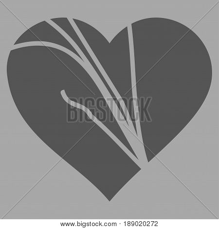 Damaged Love Heart flat icon. Vector dark gray symbol. Pictograph is isolated on a silver background. Trendy flat style illustration for web site design, logo, ads, apps, user interface.