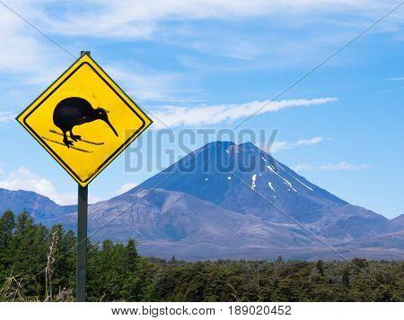Active Volcano Mount Ngauruhoe Fun Kiwi Road Sign