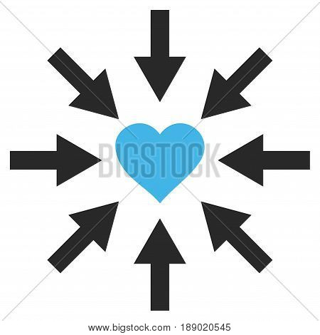 Impact Love Heart flat icon. Vector bicolor blue and gray symbol. Pictogram is isolated on a white background. Trendy flat style illustration for web site design, logo, ads, apps, user interface.