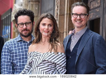 LOS ANGELES - MAY 30:  Keri Russell, J.J. Abrams and Matt Reeves arrives for the Walk of Fame honoring Keri Russell on May 30, 2017 in Hollywood, CA