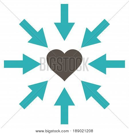 Impact Love Heart flat icon. Vector bicolor grey and cyan symbol. Pictogram is isolated on a white background. Trendy flat style illustration for web site design, logo, ads, apps, user interface.