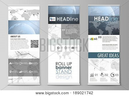 The minimalistic vector illustration of the editable layout of roll up banner stands, vertical flyers, flags design business templates. World globe on blue. Global network connections, lines and dots