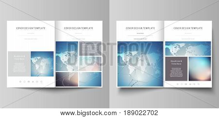 The minimalistic vector illustration of the editable layout of two A4 format modern covers design templates for brochure, flyer, report. Polygonal geometric linear texture. Global network, dig data concept.