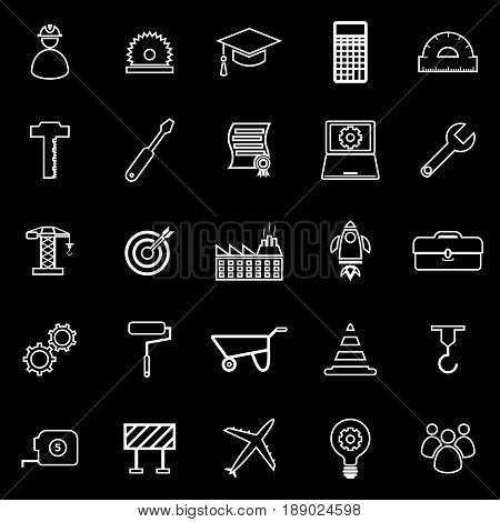 Engineering line icons on black background, stock vector