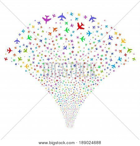 Jet Plane salute stream. Vector illustration style is flat bright multicolored iconic symbols on a white background. Object stream fountain constructed from random icons.