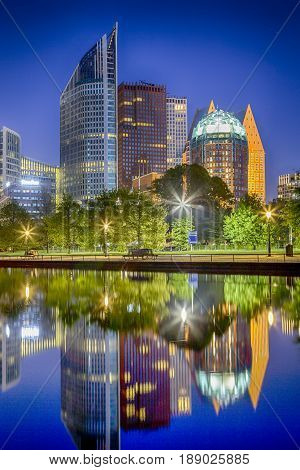 The Skyline of the Hague City (Den Haag) in the Netherlands. Shot During Blue Hour Time. Vertical Image Composition