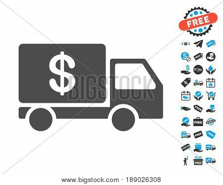 Cash Delivery gray icon with free bonus icon set. Vector illustration style is flat iconic symbols.