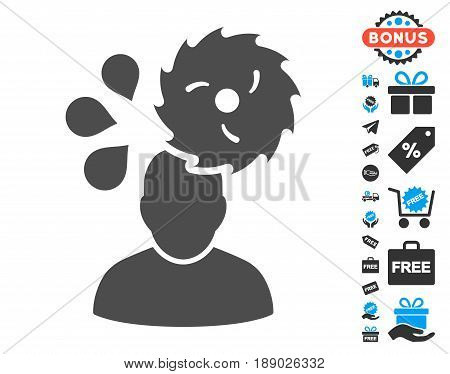 Circular Saw Accident gray icon with free bonus pictograms. Vector illustration style is flat iconic symbols.