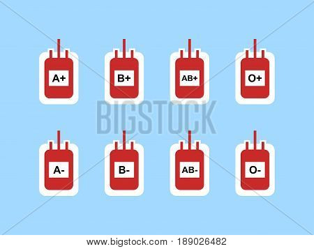 Blood Bags Sign Symbol Icon for Blood Type A+, A-, B+, B-, AB+, AB-, O+ and O- Vector Illustration