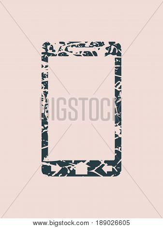 Smart phone icon. Monochrome gamma. Grunge cracked texture