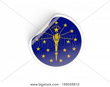 Flag Of Indiana, Us State Round Sticker