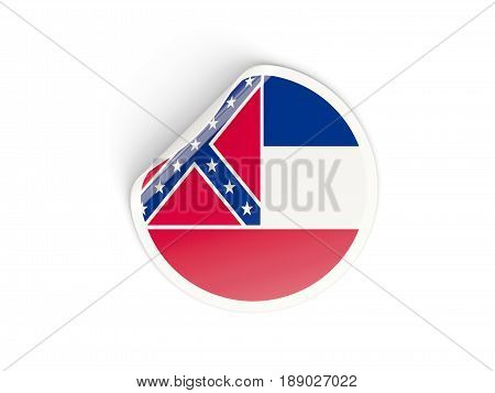Flag Of Mississippi, Us State Round Sticker
