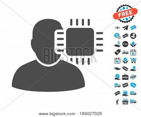 Neuro Interface gray icon with free bonus pictograph collection. Vector illustration style is flat iconic symbols.