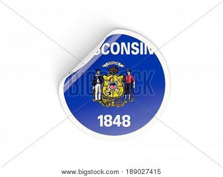 Flag Of Wisconsin, Us State Round Sticker