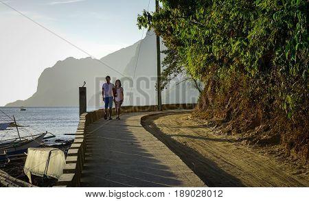 People Walking In Palawan, Philippines