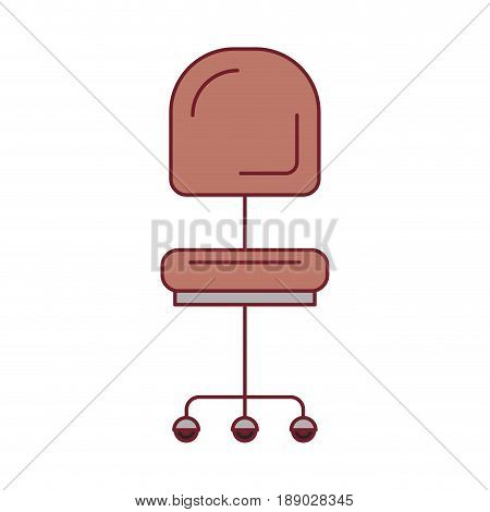 colorful graphic of office chair front view with dark red line contour vector illustration