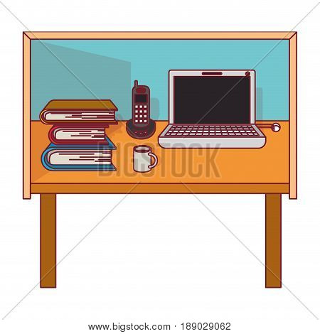 colorful graphic of desk home office basic with dark red line contour vector illustration
