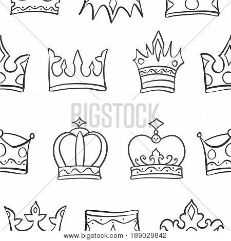 Vector art crown sketch pattern collection stock