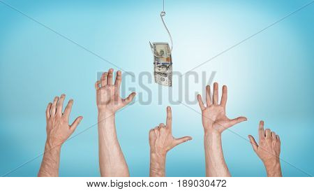 Many pointing, grabbing, greeting male hands aiming for a dollar bill caught on a hook. Everyone likes money. Best offer sale. Financial motivation.
