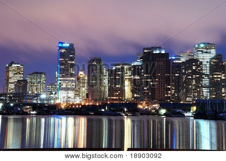 Night scene of downtown Vancouver, BC Canada