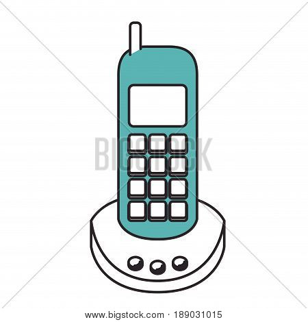 silhouette color sections of cordless phone vector illustration