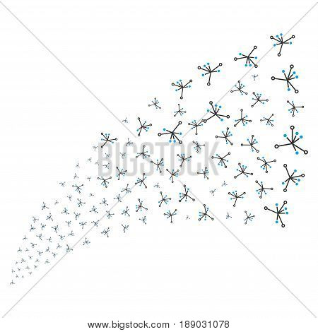 Big Bang source stream. Vector illustration style is flat blue and gray iconic symbols on a white background. Object stream fountain organized from scattered symbols.