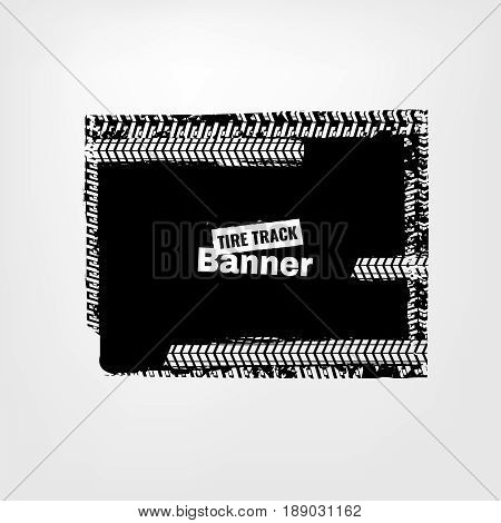 Tire Tracks Print Texture. Horizontal grunge banner. Off-road background. Graphic vector illustration. Editable graphic image in dark grey and white colors