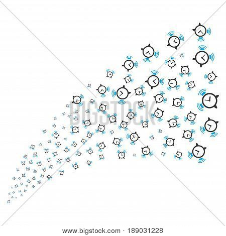 Buzzer source stream. Vector illustration style is flat blue and gray iconic symbols on a white background. Object source fountain constructed from scattered symbols.