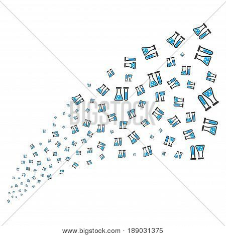 Chemistry source stream. Vector illustration style is flat blue and gray iconic symbols on a white background. Object fireworks fountain made from scattered design elements.