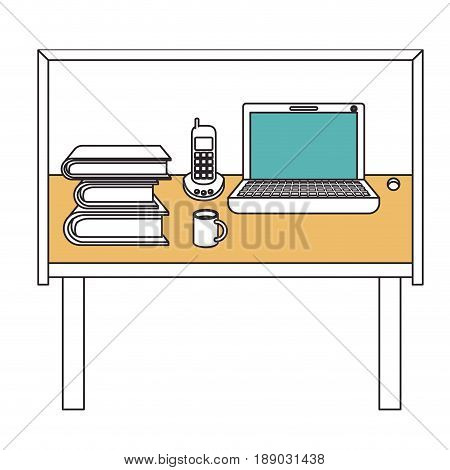 silhouette color sections of desk home office basic vector illustration