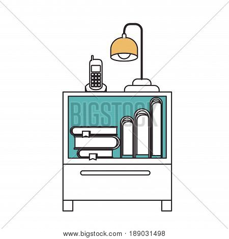 silhouette color sections of nightstand with cordless phone and lamp and books stacking vector illustration