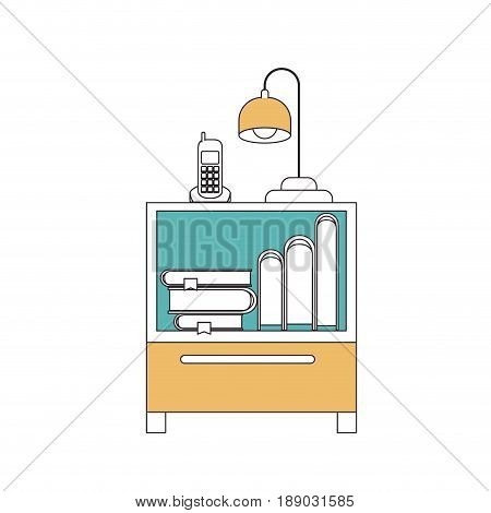 silhouette color sections of nightstand with cordless phone and lamp and books collection vector illustration