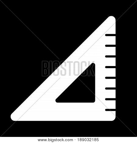 Triangle ruler vector icon. Black and white illustration of school tools . Solid linear education icon. eps 10