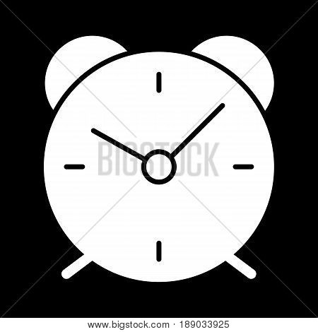 Alarm clock simple vector icon. Black and white illustration of alarm. Solid linear alarm icon. eps 10